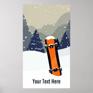 Poster Affiche faite sur commande de snowboarding d'hiver