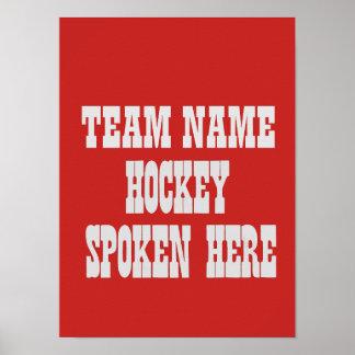 Poster Affiche faite sur commande d'équipe de hockey