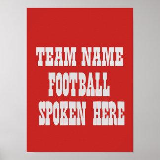 Poster Affiche faite sur commande du football d'équipe