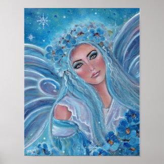 Poster Affiche féerique bleue givrée de Krysta par Renee