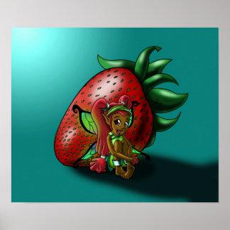 Poster Affiche féerique de Zuwena de fraise