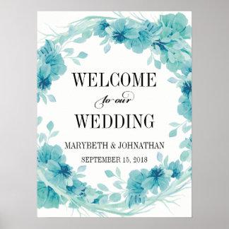 Poster Affiche florale d'accueil de mariage de guirlande