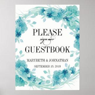 Poster Affiche florale de livre d'invité de mariage de