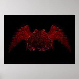 Poster Affiche foncée de grenouille de Pacman