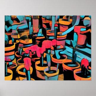 Poster Affiche fraîche stylisée des pots A3 de cactus