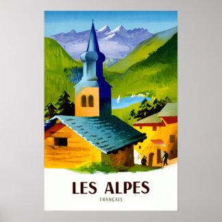 Poster Affiche française de voyage d'Alpes