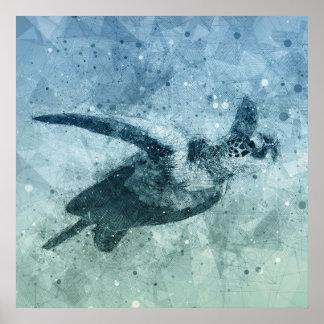 Poster Affiche géométrique de la tortue de mer verte de