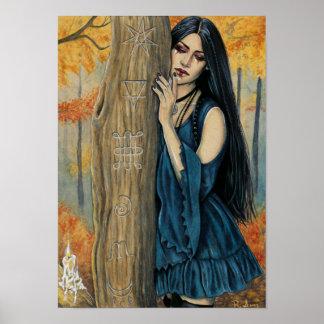 Poster Affiche gothique d'art d'imaginaire de sorcière
