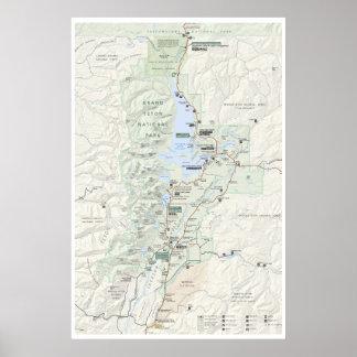 Poster Affiche grande de carte de Teton