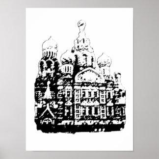 Poster Affiche graphique de l'architecture russe
