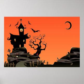 Poster Affiche hantée de Chambre de Halloween
