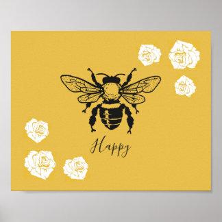 Poster Affiche heureuse d'abeille