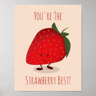 Poster Affiche heureuse du caractère | de fraise