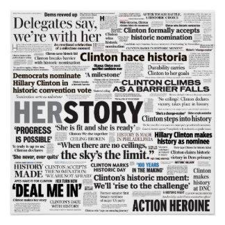 Poster Affiche historique de collage de titre de Hillary