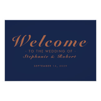 Poster Affiche horizontale de mariage d'en cuivre