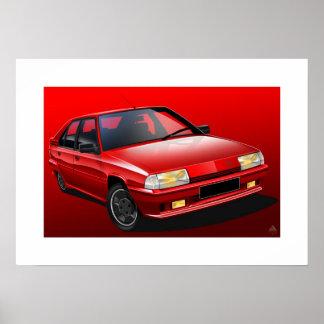 Poster Affiche illustrée par 16V de Citroen BX