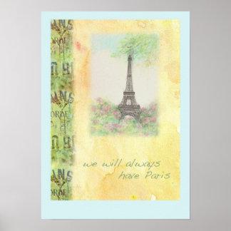 Poster AFFICHE illustrée par Tour Eiffel de Paris