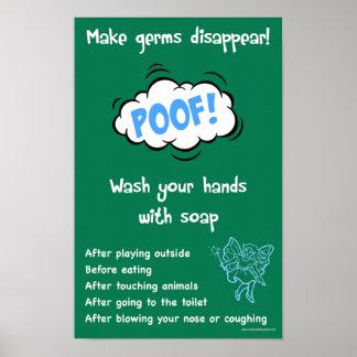 Poster Affiche informationnelle de sécurité de lavage des