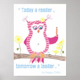 Poster Affiche inspirée de salle de classe de hibou rose.