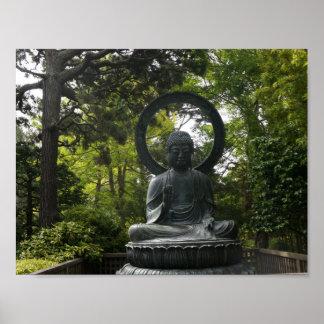 Poster Affiche japonaise de Bouddha de jardin de thé de