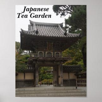 Poster Affiche japonaise de l'entrée #2 de jardin de thé