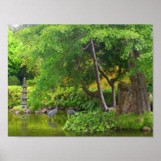 Poster Affiche japonaise de l'étang #4 de jardin de thé