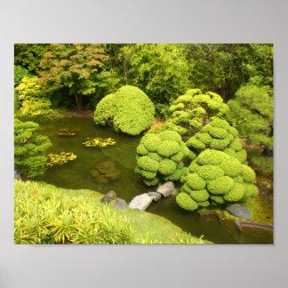 Poster Affiche japonaise de l'étang #6 de jardin de thé