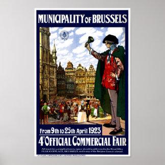 Poster Affiche juste vintage de la Belgique Bruxelles