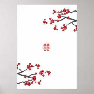 Poster Affiche l'épousant rouge de Sakuras et doubles de