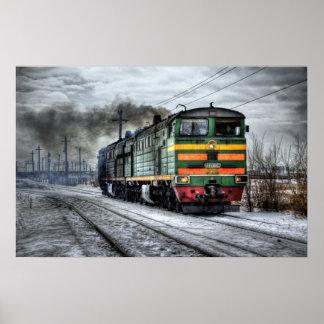 Poster affiche locamotive d'art de photographie de train