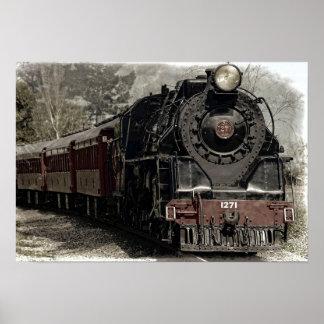 Poster Affiche locomotive antique de train de machine à