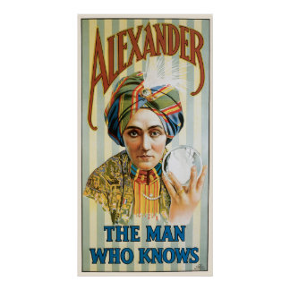 Poster Affiche magique vintage, Alexandre, l'homme qui