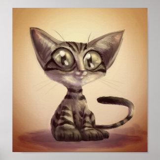 Poster Affiche mignonne de chat de caricature