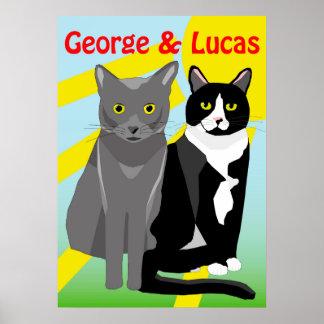 Poster Affiche mignonne de chats de bande dessinée de