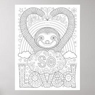 Poster Affiche mignonne de coloration de paresse - vous