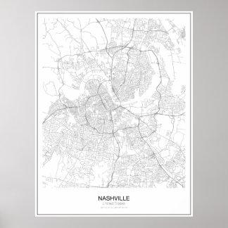Poster Affiche minimaliste de carte de Nashville,