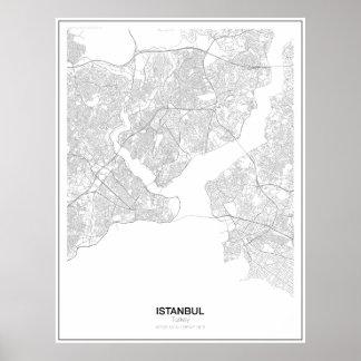 Poster Affiche minimaliste de carte d'Istanbul, Turquie