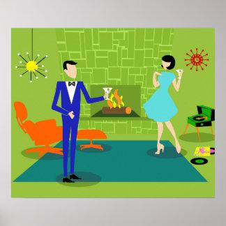 Poster Affiche moderne de couples de la moitié du siècle