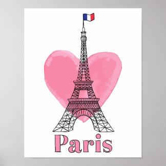 Poster Affiche moderne de Tour Eiffel d'amour rose frais