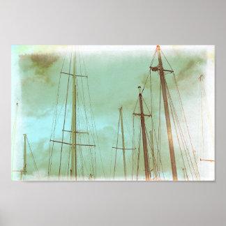 Poster Affiche nautique de bateaux de voiliers des mâts