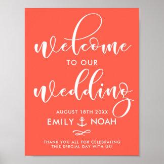 Poster Affiche nautique de signe bienvenu de mariage de