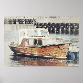 Poster Affiche nautique de vieux bateau