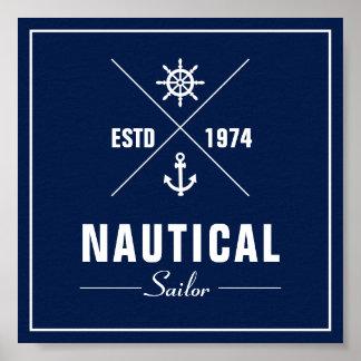 Poster Affiche nautique d'étiquette avec l'ancre et la