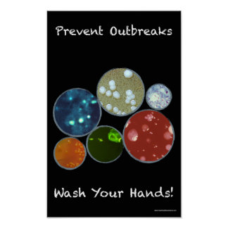 Poster Affiche noire de sécurité de lavage des mains