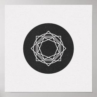 Poster Affiche noire et blanche de cercle minimaliste