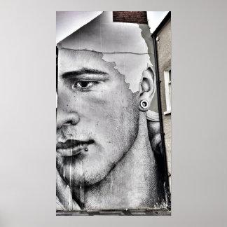 Poster Affiche noire et blanche de graffiti