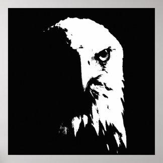 Poster Affiche noire et blanche d'Eagle chauve