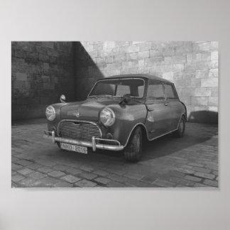 Poster Affiche noire et blanche vintage de Mini Cooper