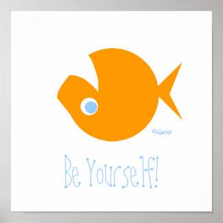 Poster Affiche non conformiste drôle mignonne de poisson