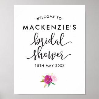 Poster Affiche nuptiale d'accueil de douche de roses